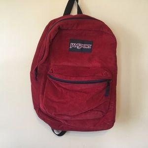 90s Vintage Jansport Corduroy Backpack Bookbag Red